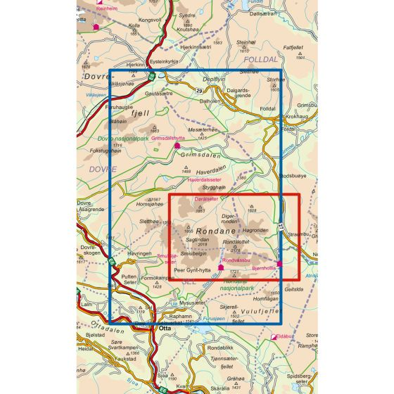 Map area for Rondane Nord 1:50 000  map