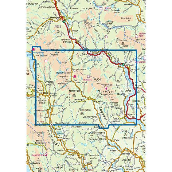 Kartenabdeckung fürt Norefjell-Eggedal 1:50 000 karte