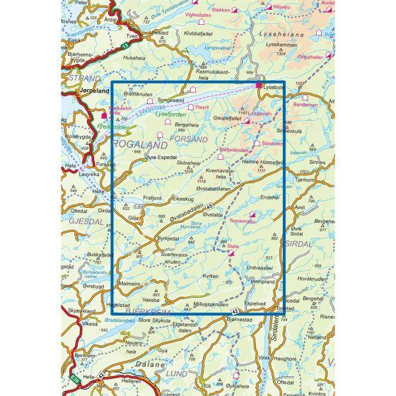 Kartenabdeckung fürt Frafjord-Bjerkreimsheiane 1:50 000 karte