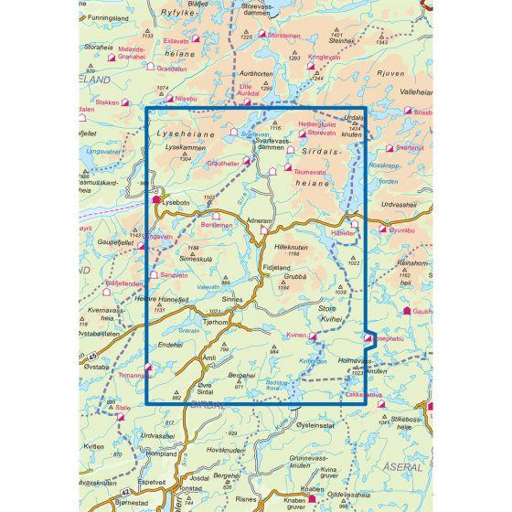 Kartenabdeckung fürt Sirdalsheiane 1:50 000 karte