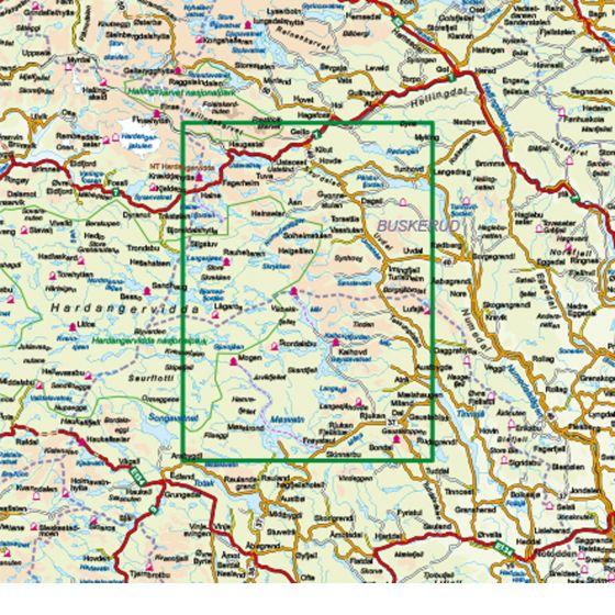 Kartenabdeckung fürt Hardangervidda Øst 1:100 000 karte