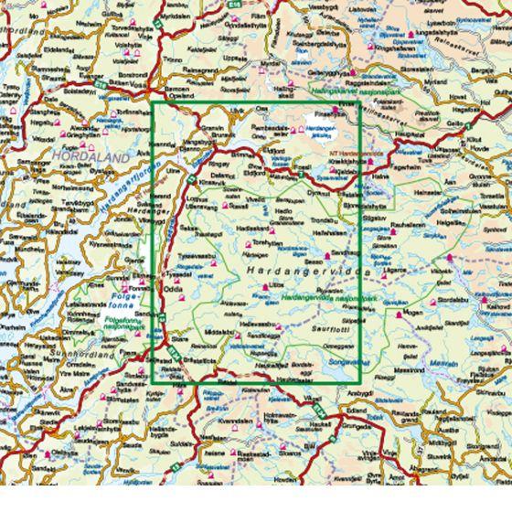 Dekningsområdet Hardangervidda Vest 1:100 000 kartet
