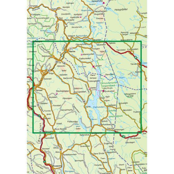 Map area for Femunden 1:100 000  map
