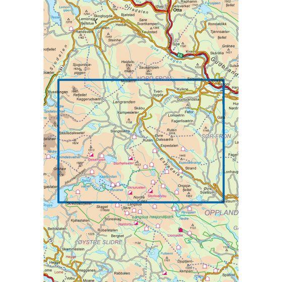 Kartenabdeckung fürt Skåbu-Espedalen-Fefor 1:50 000 karte