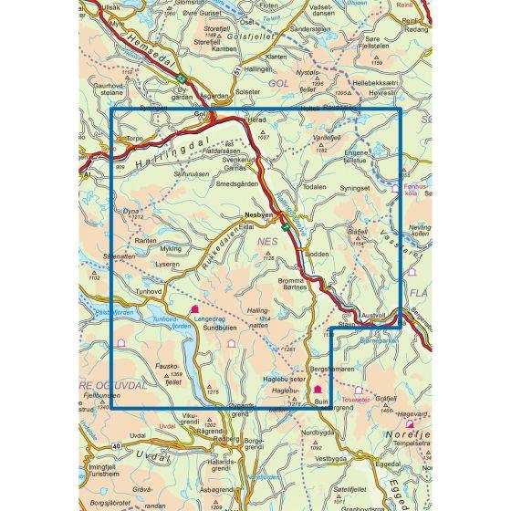 Map area for Nesbyen 1:50 000  map