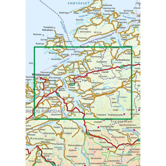 Map area for Fjordruta 1:100 000  map