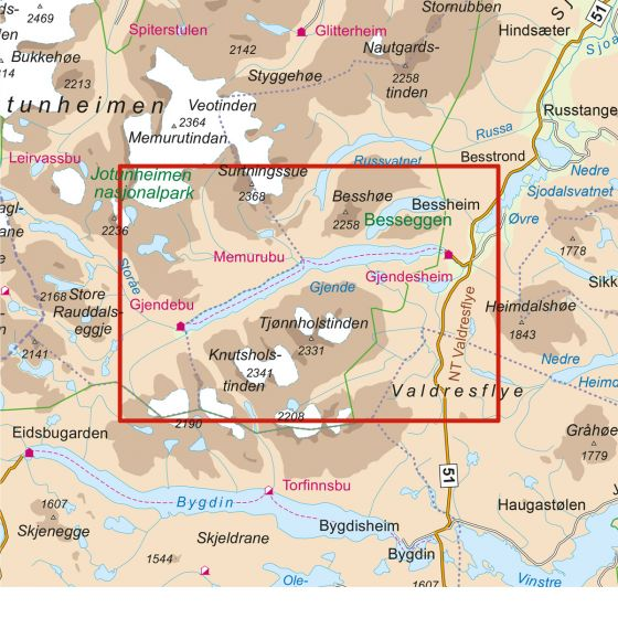 Kartenabdeckung fürt Besseggen 1:25 000 karte
