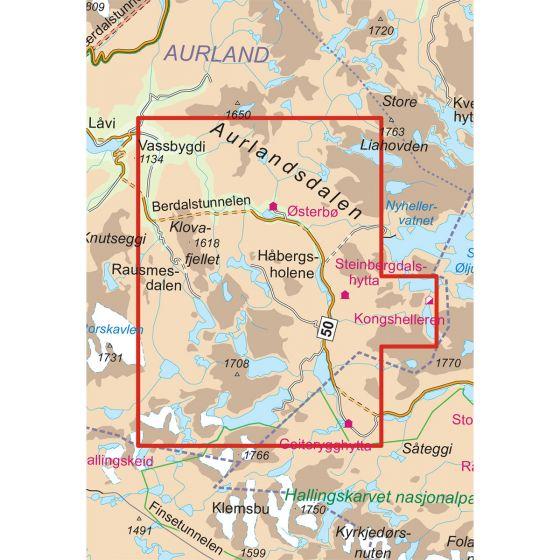 Kartenabdeckung fürt Aurlandsdalen Østerbø 1:25 000 karte