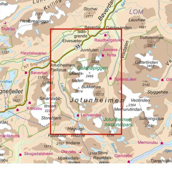 Dekningsområdet Galdhøpiggen 1:25 000 kartet