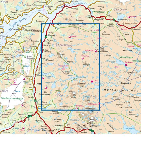 Map area for Hardangervidda Vest 1:50 000  map