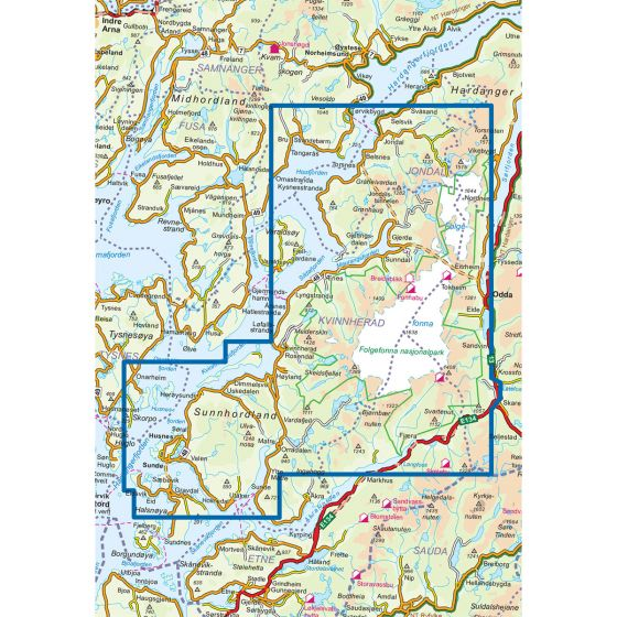 Map area for Folgefonna Nasjonalpark 1:50 000  map