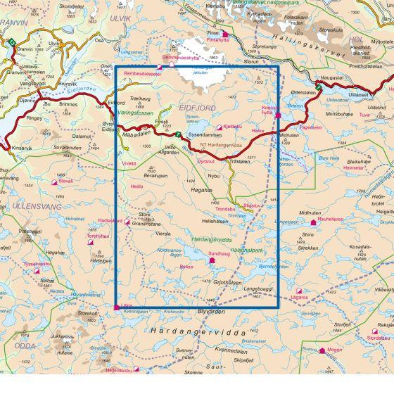 Dekningsområdet Eidfjord 1:50 000 kartet