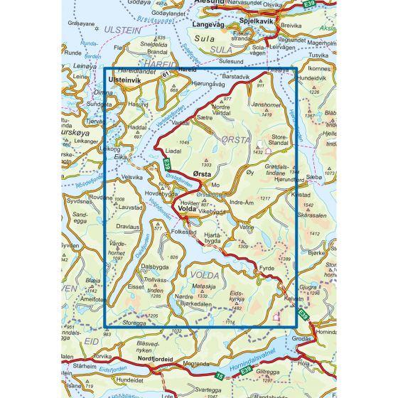 Kartenabdeckung fürt Sunnmørsalpene Vest 1:50 000 karte