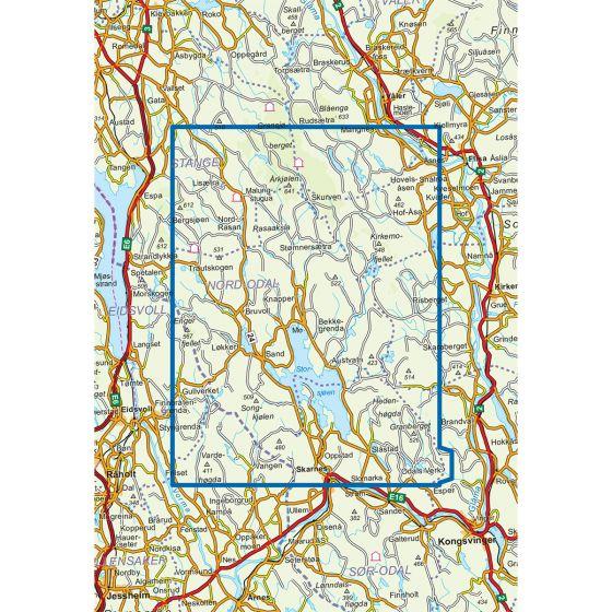 Kartenabdeckung fürt Odalen Nord 1:50 000 karte