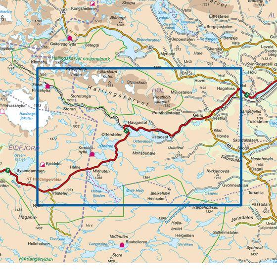 Map area for Skarverennet 1:50 000  map