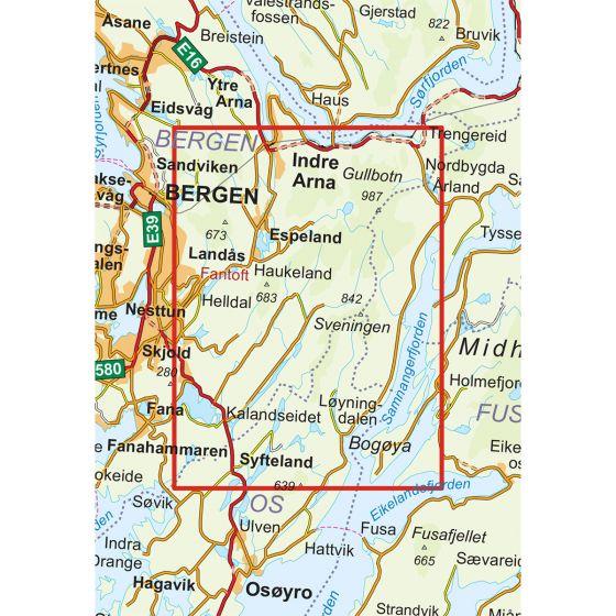 Kartenabdeckung fürt Gullfjellet 1:25 000 karte