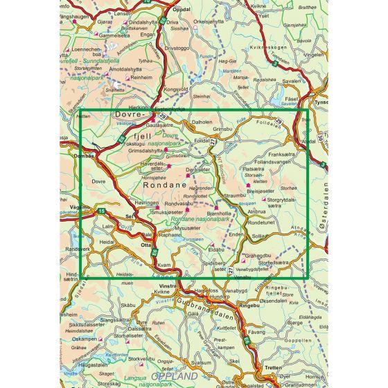 Dekningsområdet Rondane 1:100 000 kartet