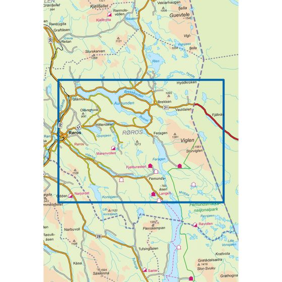 Map area for Røros Feragen 1:50 000  map