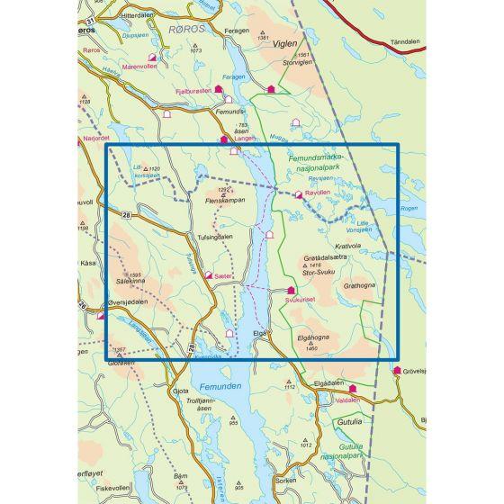 Dekningsområdet Femunden Nord 1:50 000 kartet