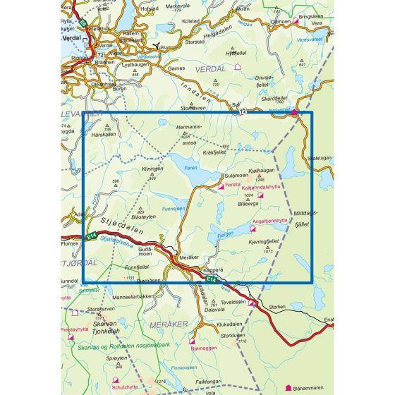 Dekningsområdet Meråker Nord 1:50 000 kartet