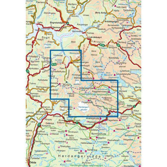 Map area for Rallarvegen 1:50 000  map