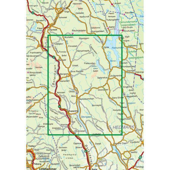 Dekningsområdet Rendalen 1:100 000 kartet