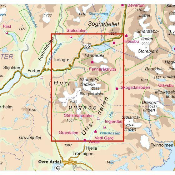 Map area for Hurrungane 1:25 000  map