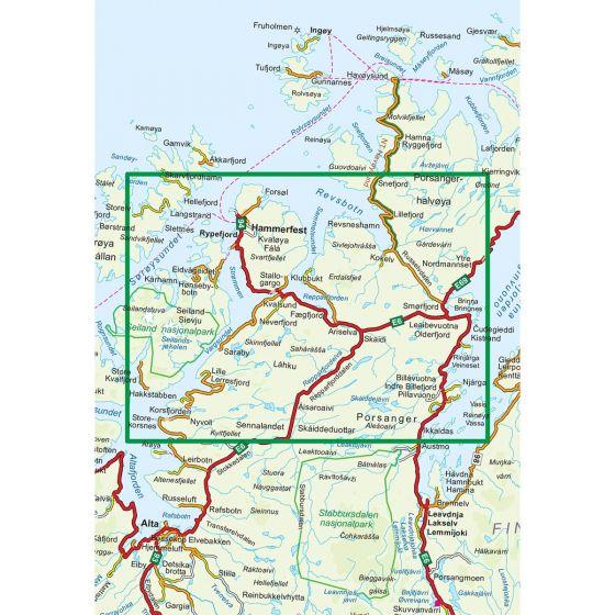 Kartenabdeckung fürt Kvalsund Nord 1:100 000 karte