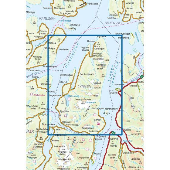 Map area for Lyngenhalvøya Nord 1:50 000  map