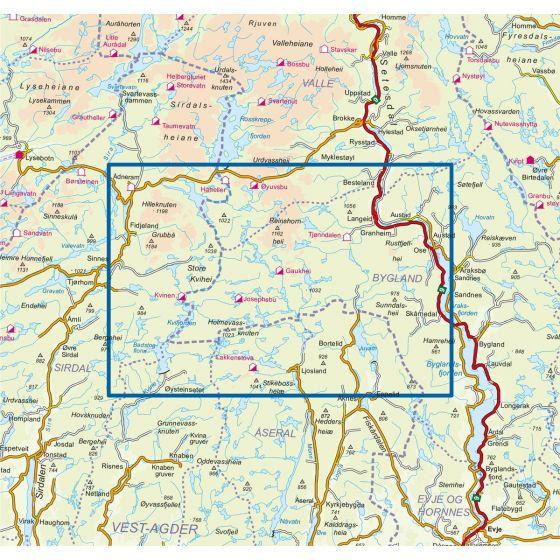 Dekningsområdet Setesdal Vesthei Sør 1:50 000 kartet