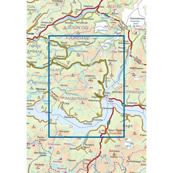 Kartenabdeckung fürt Balestrand 1:50 000 karte