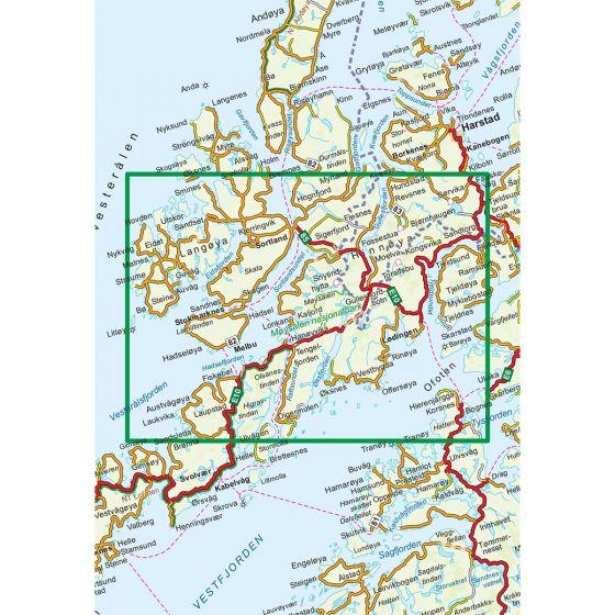 Dekningsområdet Vesterålen Hinnøya Sør 1:100 000 kartet