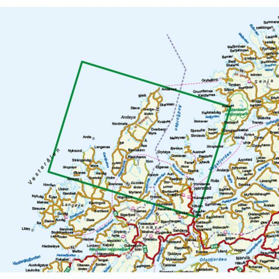 Kartenabdeckung fürt Vesterålen Hinnøya Nord 1:100 000 karte