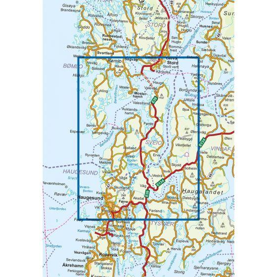 Kartenabdeckung fürt Sveio 1:50 000 karte