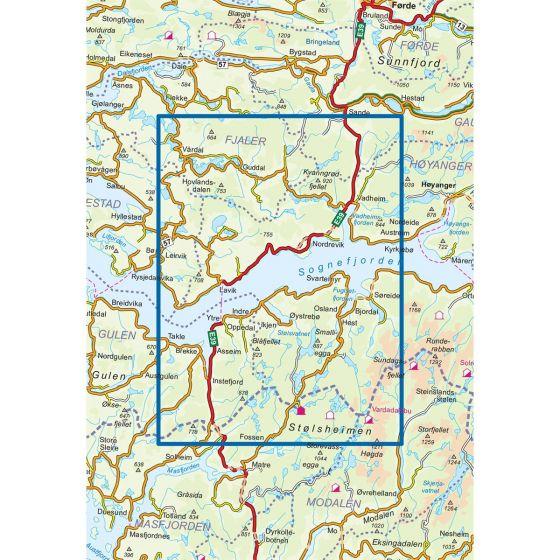 Kartenabdeckung fürt Høyanger Vest 1:50 000 karte