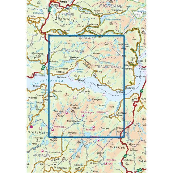 Kartenabdeckung fürt Høyanger Aust 1:50 000 karte