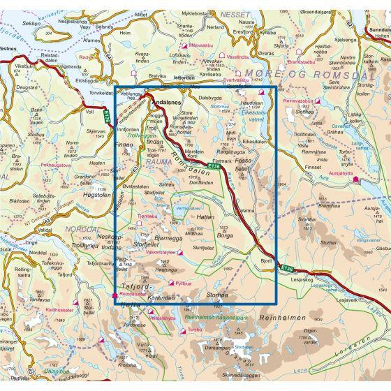 Dekningsområdet Romsdalsfjella Sør 1:50 000 kartet