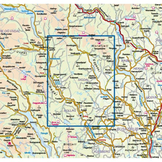 Map area for Trillemarka-Rollagsfjell 1:50 000  map