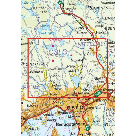 Map area for Oslo Nordmark Sør 1:25 000  map