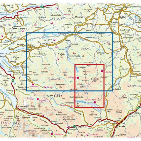 Kartenabdeckung fürt Trollheimen Nord 1:50 000 karte