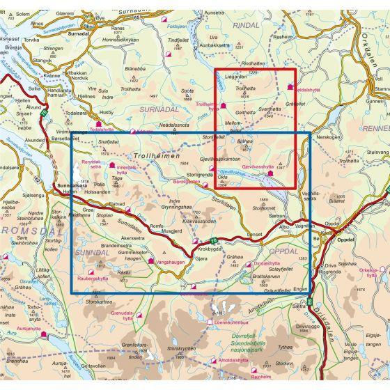 Map area for Trollheimen Sør 1:50 000  map
