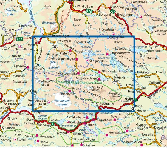 Kartenabdeckung fürt Hallingskarvet nasjonalpark 1:50 000 karte