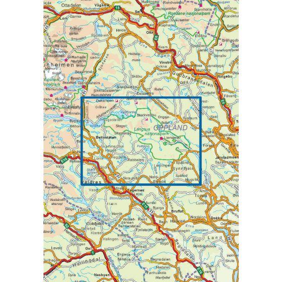 Kartenabdeckung fürt Langsua Nasjonalpark 1:50 000 karte