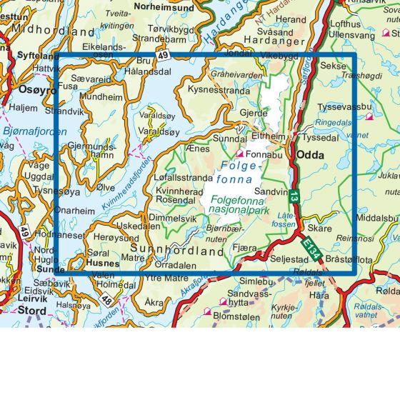 Kartenabdeckung fürt Folgefonna Nasjonalpark 1:50 000 karte