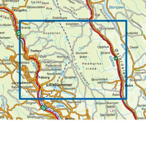 Dekningsområdet Lillehammer- Rena 1 :50 000 kartet