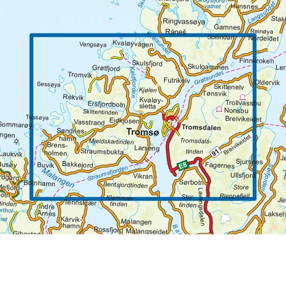Dekningsområdet Tromsø-Kvaløya 1:50 000 kartet