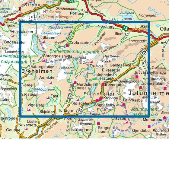 Kartenabdeckung fürt Breheimen Nasjonalpark 1:50 000 karte