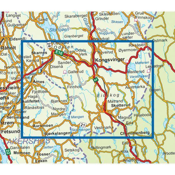 Map area for Finnskogen Sør  1:50 000  map