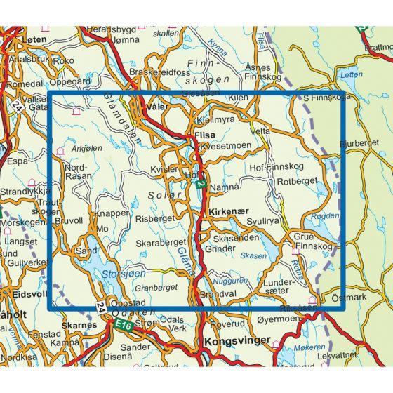 Map area for Finnskogen Midtre 1:50 000  map