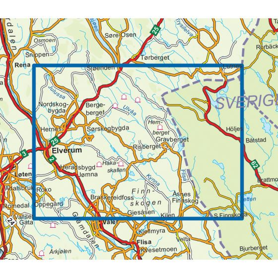 Map area for Finnskogen Nord 1:50 000  map